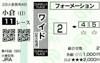 小倉記念ワイド馬券