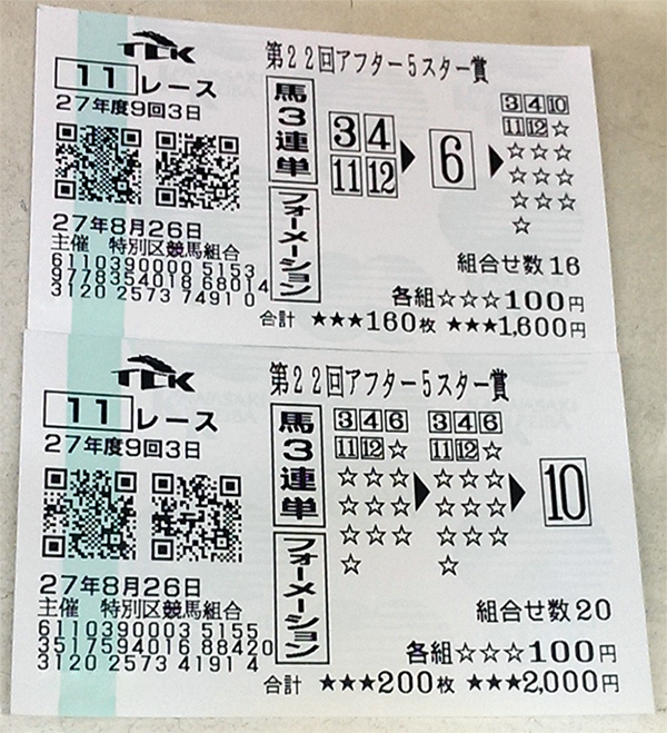 アフター5スター賞ハズレ馬券