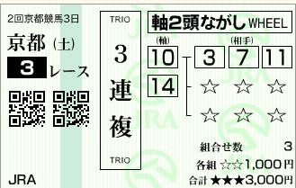 京都3R3歳未勝利-馬券