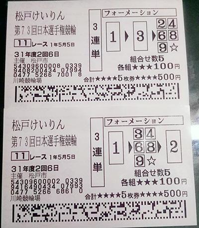 2019年日本選手権-車券